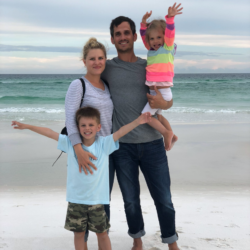 Emily Bamesberger pictured with her husband and two kids at the beach