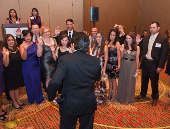 Bianca Garcia, '12, (second from right) takes the oath of office as president of the Law School Division of the Hispanic National Bar Association along with other HNBA student leaders in Dallas on September 3, 2011.