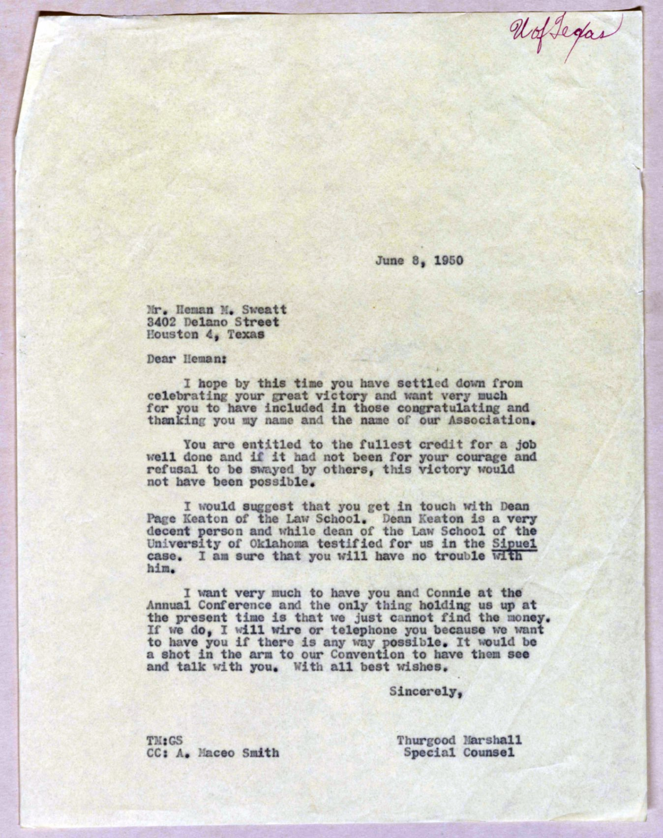 History Made 70 Years Ago This Week: Heman Sweatt Enrolls ...