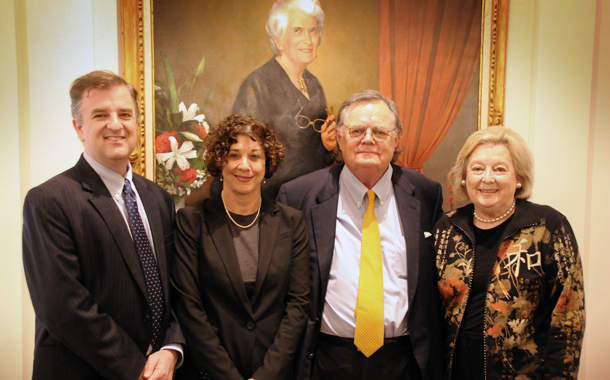From left to right: Dean Ward Farnsworth, Clinical Professor Barbara Hines, law alumnus John Massey, '66, and Elizabeth S. Massey, B.S. '61.