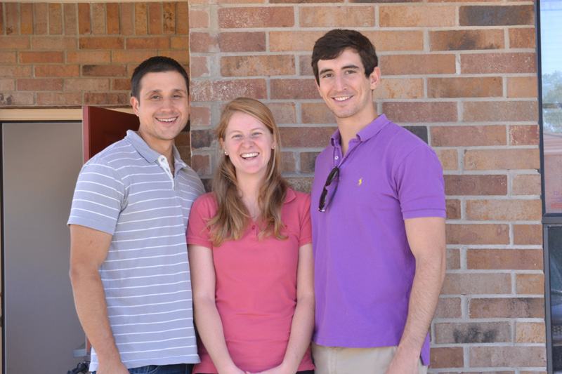 Law students in Goliad with the Rural Outreach Initiative are, left to right, Tecuan Flores, Meredith Weaver, Kevin Vermillion