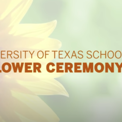 Graphic of the Sunflower Ceremony 2020, written in orange letters with a faded sunflower in the background.