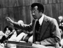 Photo of John W. Walker speaking, circa 1970s.
