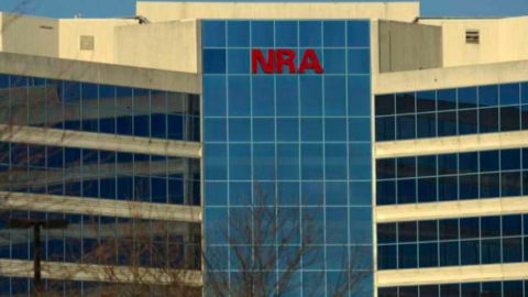 The National Rifle Association of America headquarters building is seen in Fairfax, Va.