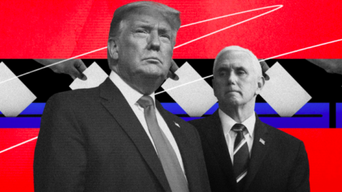 Graphic with Trump and Pence in front of ballots