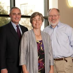 Adjunct Professor David C. Frederick, '89; Leroy G. Denman Jr. Regents Professor Lynn Blais; and Michael Sturley, Fannie Coplin Regents Chair.