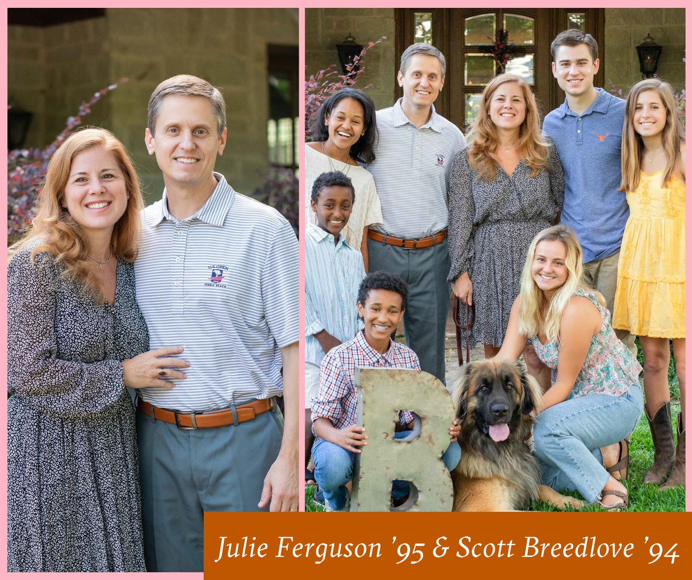 Collage of Julie Ferguson and Scott Breedlove and their family
