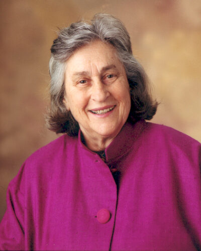 A portrait of Zipporah Wiseman wearing a fuchsia top. Professor Wiseman, who died on January 20, taught at Texas Law for 27 years.