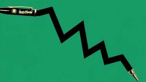 An illustration of Donald Trump's signign pen as crashing stock market graph line
