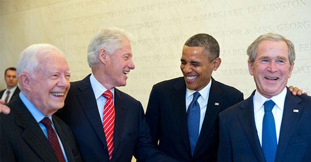 Presidents Jimmy Carter, Bill Clinton, Barack Obama and George W. Bush