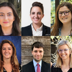 A collage of portraits of six students who were awarded the Texas Law Postgraduate Public Interest Fellowships.