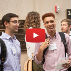 Image of a youtube video of students in the School of Law building.