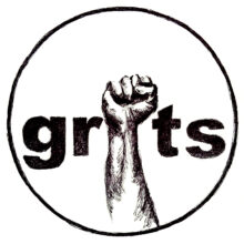 Black and white illustration of an upraised fist in a circle with the first serving as the letter I in the words GRITS
