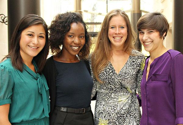 Pro Bono Scholars from left to right: Andrea Meza, '15, Simone Otenaike, '15, Colleen Mulholland,