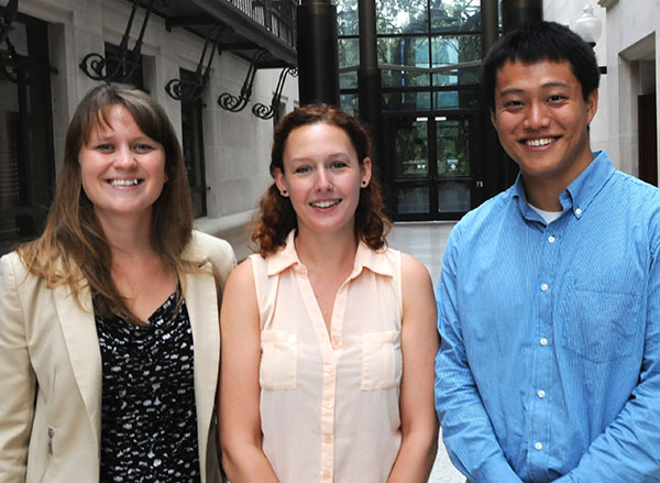 2013-14 Rapoport Center Human Rights Scholars: Kallie Dale-Ramos, Catherine Wagner and Kyle Shen.