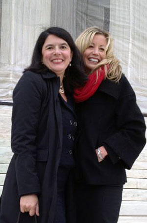 Jane Webre and Cindy Connolly stand outside the Supreme Court after arguing their case.