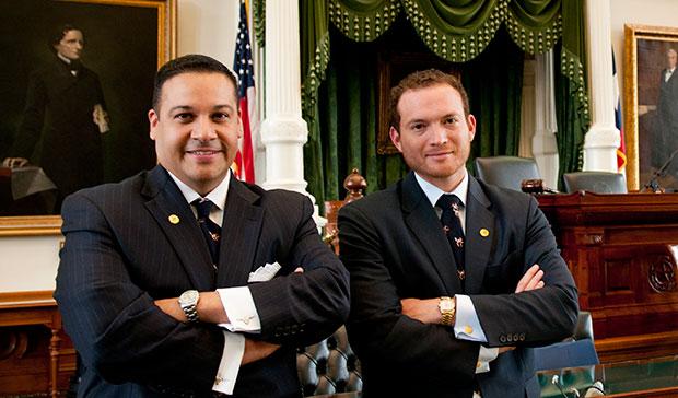 Jason Villalba and Oscar Longoria in the house chambers.