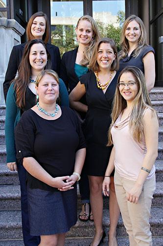 1st row (l-r): Eleanor D'Ambrosio, '15, Stephanie Brosig, '15 2nd row (l-r): Stephanie Matherne, '14, Catherine McCullogh, '14 3rd row (l-r): Sarah Bryant, '14, Hensleigh Crowell, '16, Kali Cohn, '14