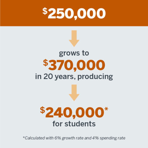 $250,000 Grows to $370,000 in 20 years producing $240,000* for students *Calculated with 6% growth rate and 4% spending rate