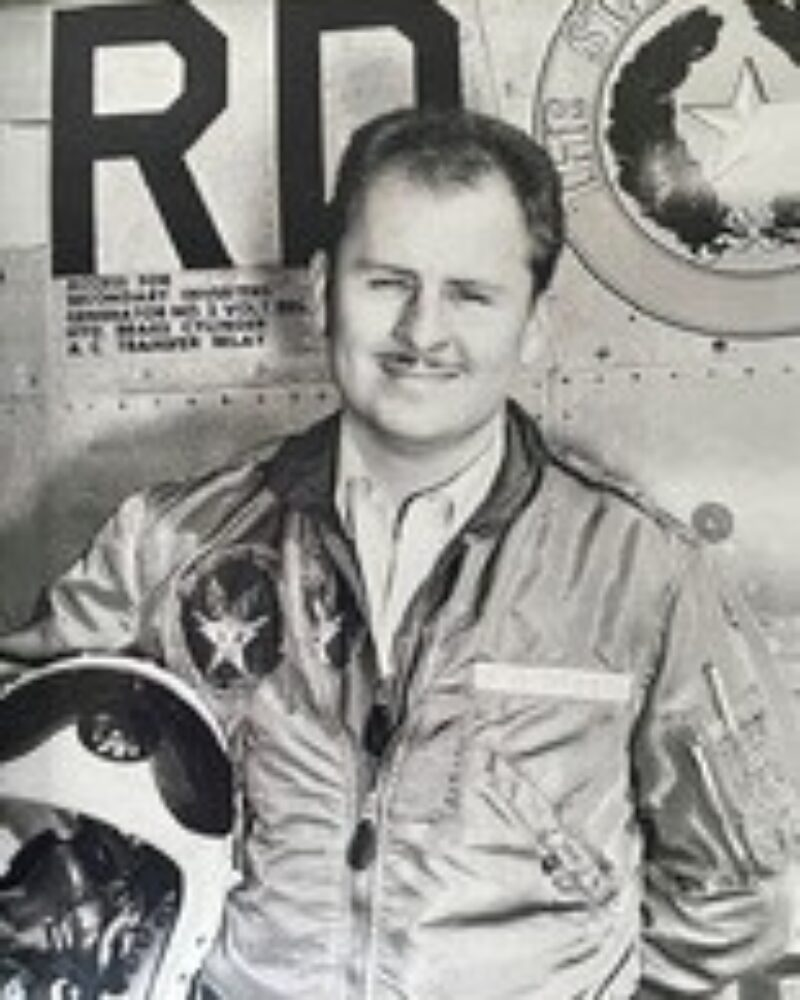 Black and White Portrait of Roy Minton in his pilot uniform